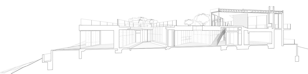 Oak Pass Main House Section Perspective 2